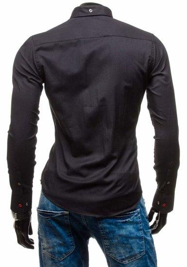 Pánská černá elegantní košile s dlouhým rukávem Bolf 5803