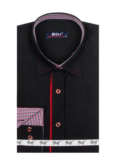 Pánská černá elegantní košile s dlouhým rukávem Bolf 6932