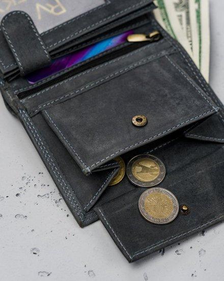 Pánská černá kožená peněženka 7925