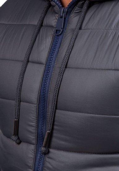 Pánská grafitová prošívaná vesta s kapucí Bolf 504