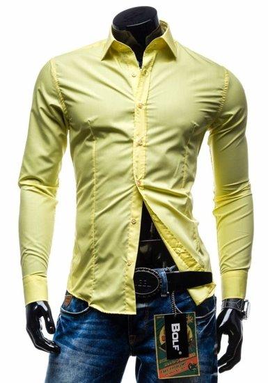 Pánská košile BOLF 1703 žlutá