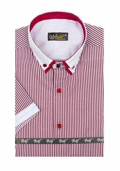 Pánská košile BOLF 1808 bílo-bordová