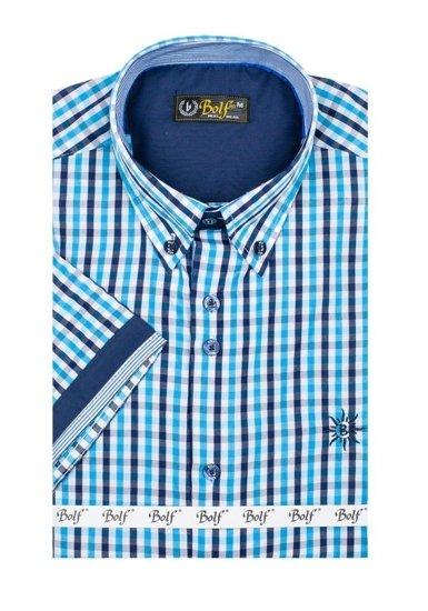 Pánská košile BOLF 4510 tyrkusová