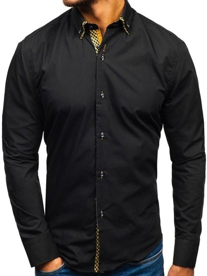 Pánská košile BOLF 4708 černo-hnědá