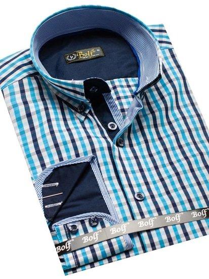 Pánská košile BOLF 4712 tyrkysová