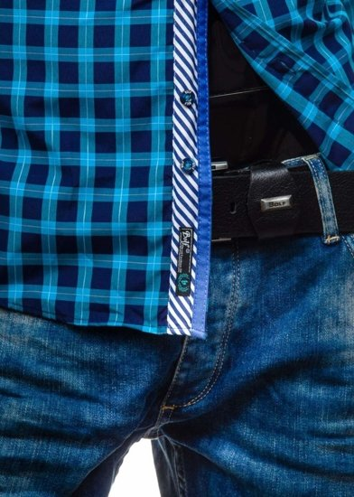 Pánská košile BOLF 5813 tyrkysová