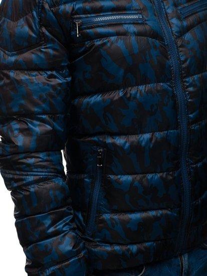 Maskáčovo-tmavě modrá pánská sportovní přechodová bunda Bolf 3156