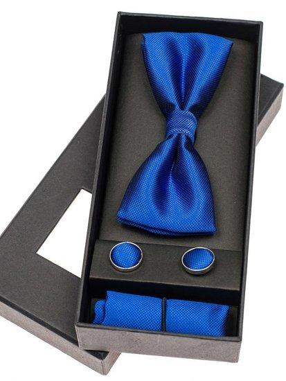 Pánská sada motýlek, manžetové knoflíčky, inkoustově modrý kapesníček Bolf MSP01