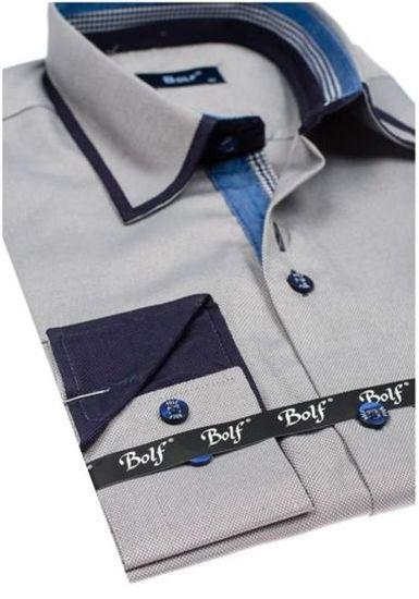 Pánská šedá elegantní košile s dlouhým rukávem Bolf 6902