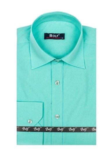 Pánská světle zelená elegantní košile s dlouhým rukávem Bolf 1703-2