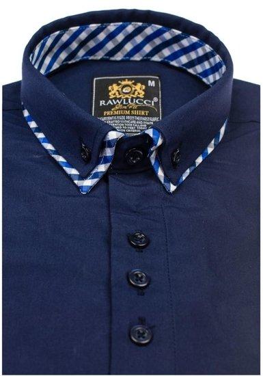 Pánská tmavě modrá elegantní košile s dlouhým rukávem Bolf 776