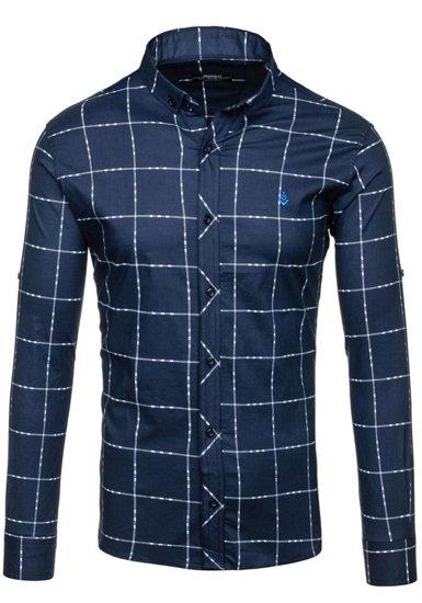 Pánská tmavě modrá kostkovaná košile s dlouhým rukávem Bolf 0280