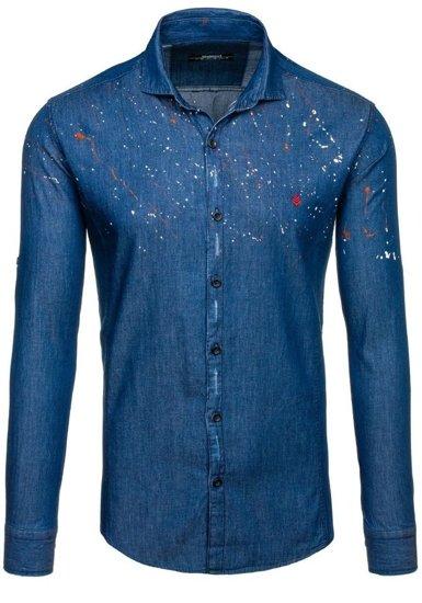 Pánská tmavě modrá vzorovaná košile s dlouhým rukávem Bolf 1589