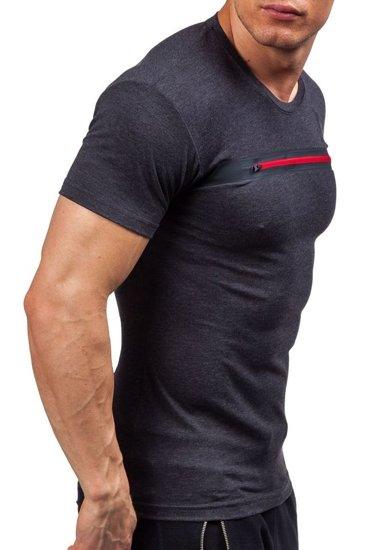 Pánské antracitové tričko s potiskem Bolf 5118