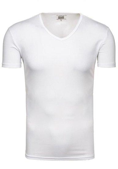 Pánské bílé tričko bez potisku s výstřihem do V Bolf 2007