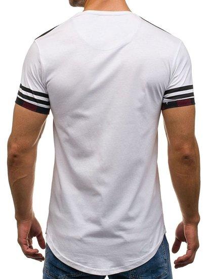 Pánské bílé tričko s potiskem Bolf 2062