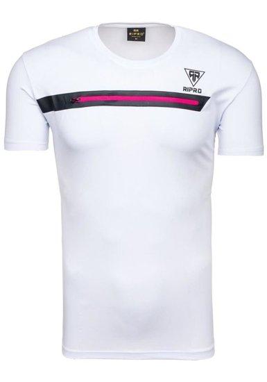 Pánské bílé tričko s potiskem Bolf 5118