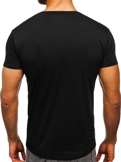 Pánské černé tričko bez potisku s výstřihem do V Bolf 2007