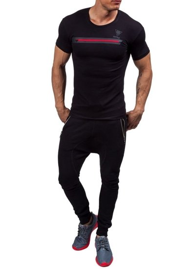 Pánské černé tričko s potiskem Bolf 5118