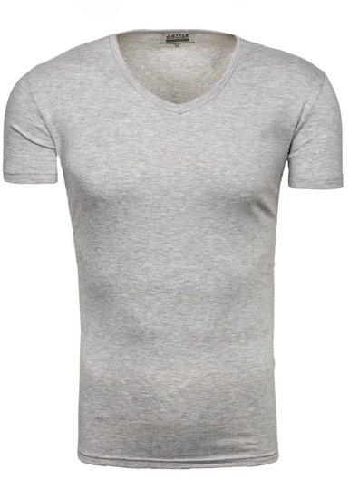 Pánské šedé tričko bez potisku s výstřihem do V Bolf 2007