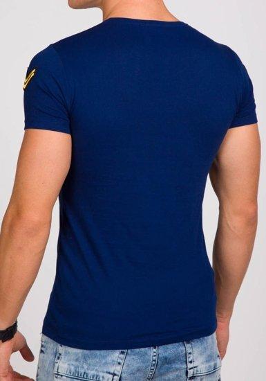 Pánské tmavě modré tričko s potiskem Bolf 9021