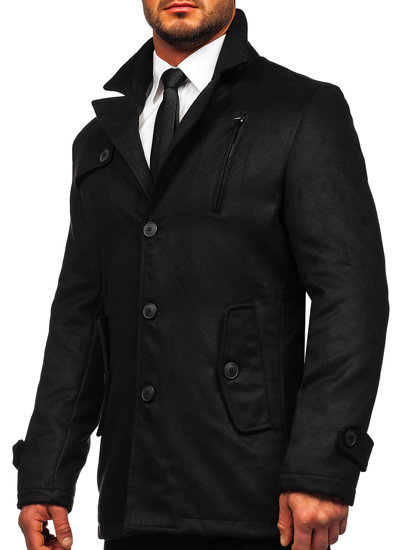 Pánský černý zimní kabát Bolf 3127