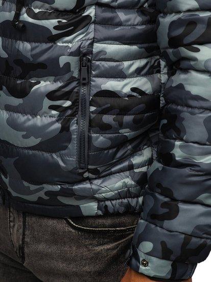 Šedá pánská prošívaná sportovní zimní bunda Bolf 50A469