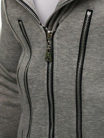 Šedá prodloužená pánská mikina s kapucí Bolf Y36-2