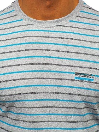 Šedé pánské proužkované tričko s dlouhým rukávem Bolf 1519
