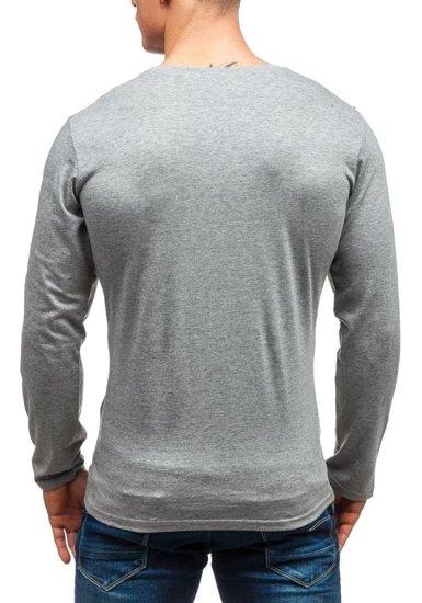 Šedé pánské tričko s dlouhým rukávem a potiskem Bolf 6163