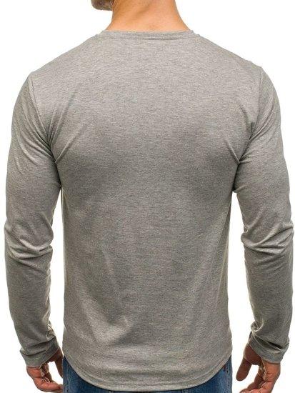 Šedé pánské tričko s dlouhým rukávem a potiskem Bolf SX072