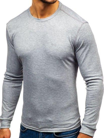 Šedé pánské tričko s dlouhým rukávem bez potisku Bolf 145359