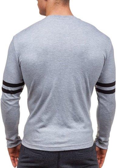 Šedé pánské tričko s dlouhým rukávem s potiskem Bolf 4629