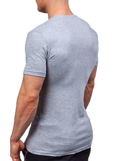 Šedé pánské tričko s potiskem Bolf 1025