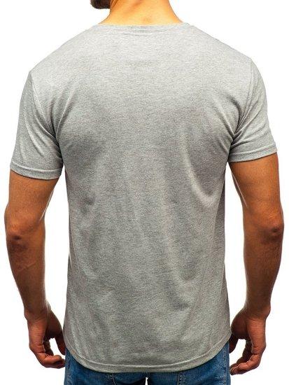 Šedé pánské tričko s potiskem Bolf 10828