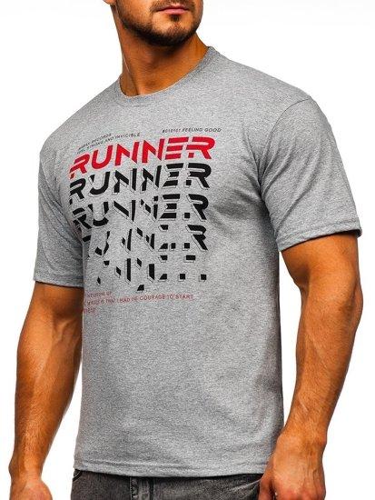 Šedé pánské tričko s potiskem Bolf 14316