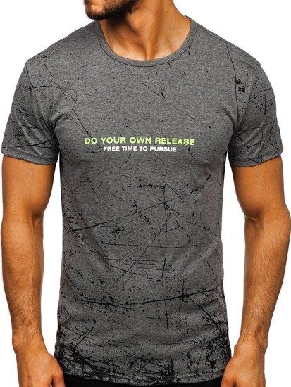 Šedé pánské tričko s potiskem Bolf SS10916