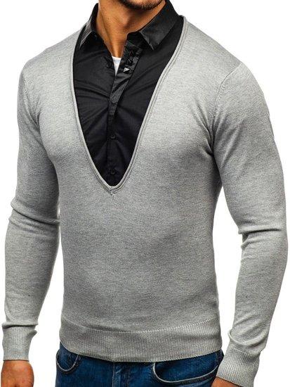Šedý pánský svetr 2v1 s košilí Bolf 88132
