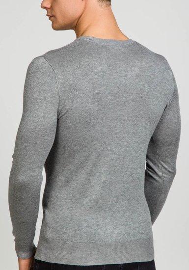 Šedý pánský svetr s výstřihem do V Bolf 6002
