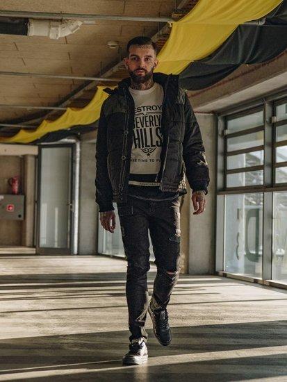 Stylizace č. 122 - zimní bunda, tričko s dlouhým rukávem a potiskem, džíny, obuv
