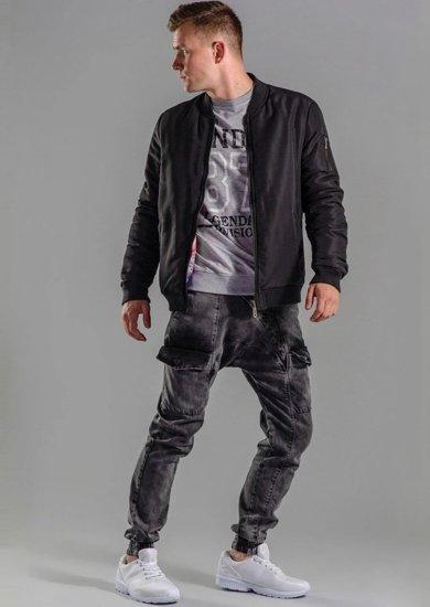 Stylizace č. 52 - bunda, mikina s potiskem, jogger kalhoty, obuv