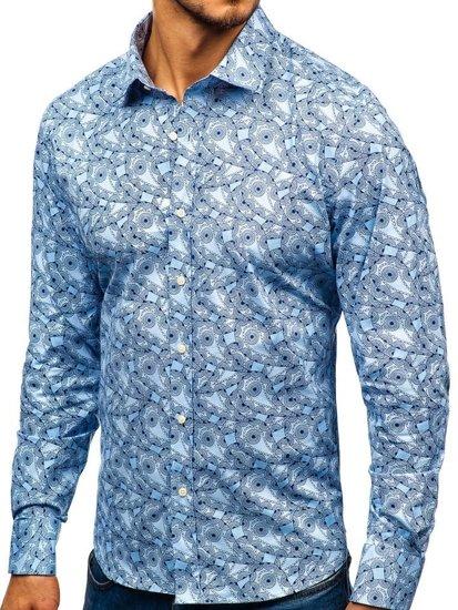 Světle modrá pánská vzorovaná košile s dlouhým rukávem Bolf 301G89