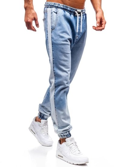 Světle modré pánské džínové jogger kalhoty Bolf 2047