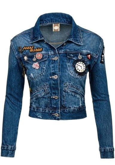 Tmavě modrá dámská džínová bunda Bolf 5164