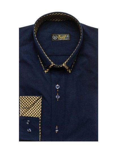 Tmavě modrá pánská elegantní košile s dlouhým rukávem Bolf 4708