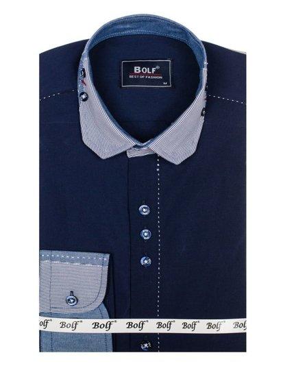 Tmavě modrá pánská elegantní košile s dlouhým rukávem Bolf 6962