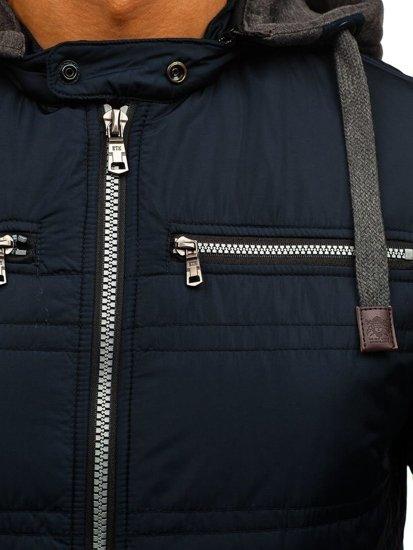 Tmavě modrá pánská elegantní přechodová bunda Bolf 1763