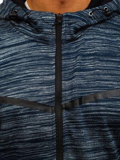 Tmavě modrá pánská mikina na zip s kapucí Bolf AK75
