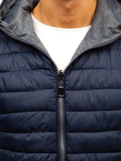 Tmavě modrá pánská oboustranná vesta s kapucí Bolf 1251