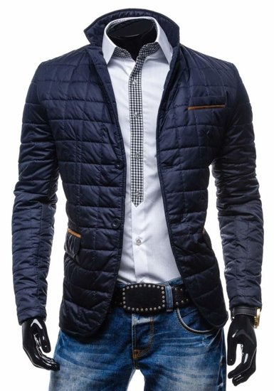 Tmavě modrá pánská elegantní přechodová bunda Bolf Y606